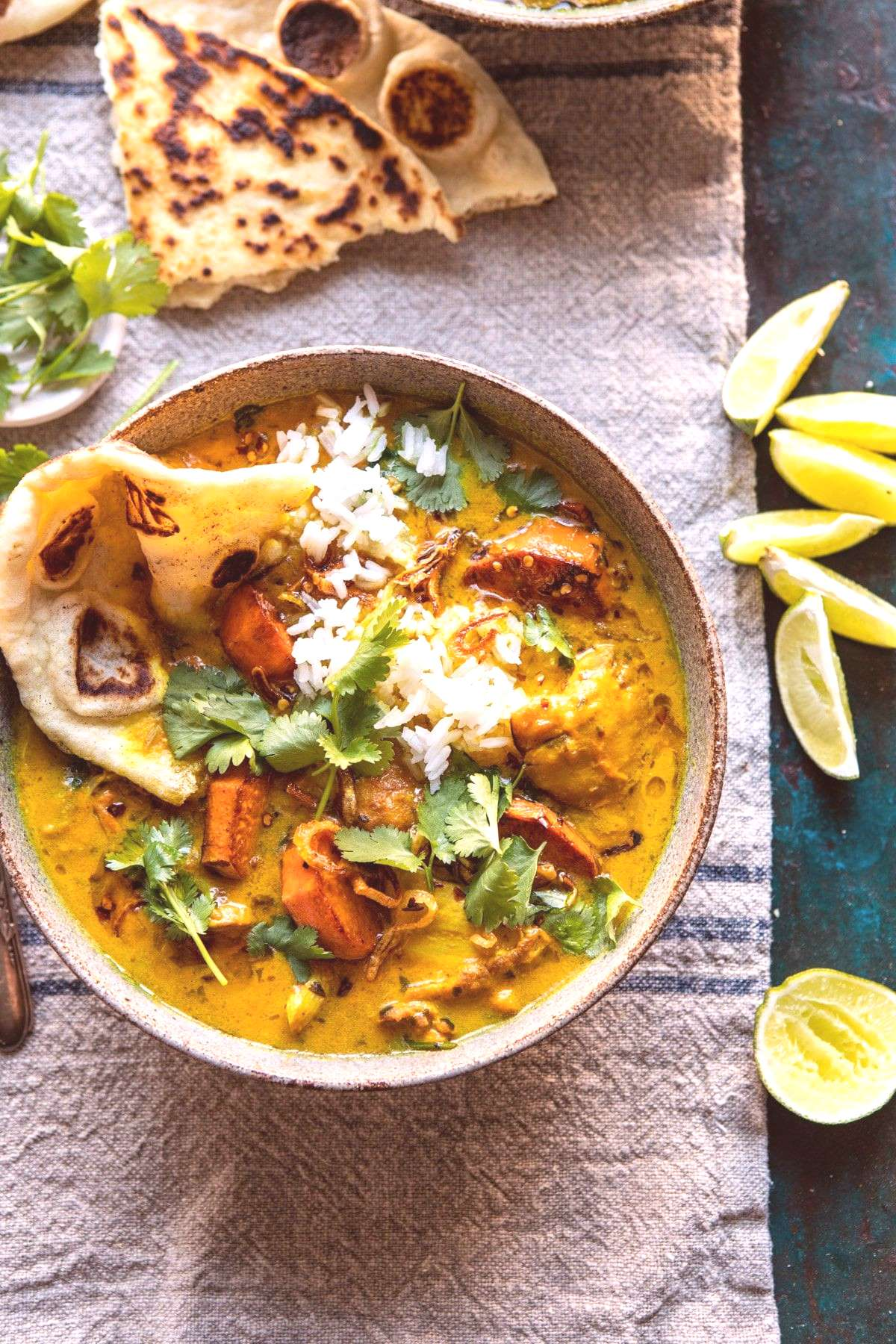 30 Minute Coconut Milk Braised Chicken with Sweet Potatoes and Rice |