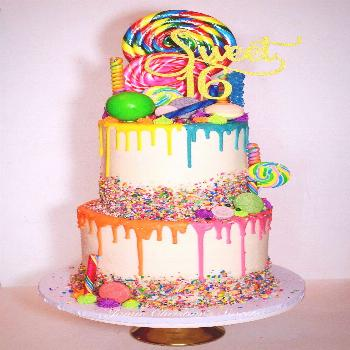 Candyland Birthday Cake Candy Colorful Cake Sweet Sixteen Lollipop Candyland Drip Cake