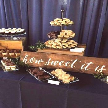 Dallas Wedding from Helmutwalker Photography + La Tavola How Sweet It Is Sign Dessert Table Sign Wo