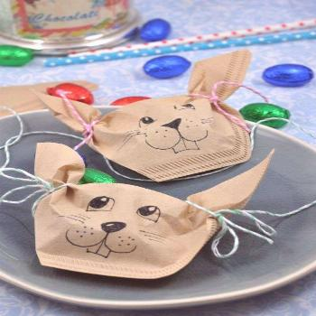 Easter bunnies from filter bags  little. red. temptations.