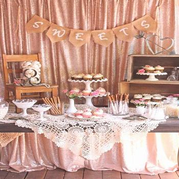 "Glory describes her vintage dessert table as a mixture of ""rustic and romantic"". Created for a"