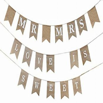 Love is Sweet Sign Banner – Mr and Mrs Burlap Banner Sign