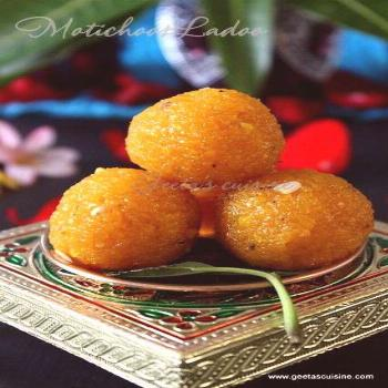 Motichoor ladoo is a delicious mouthwatering sweet which is famous in Northern part of India. Ladoo
