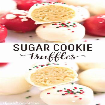 No-bake sugar cookie truffles made with only 4 ingredients! An easy and delicious treat for the hol