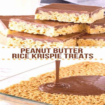 Peanut Butter Rice Krispie Treats are gooey, chewy and perfect twist on the classic Rice Krispies.