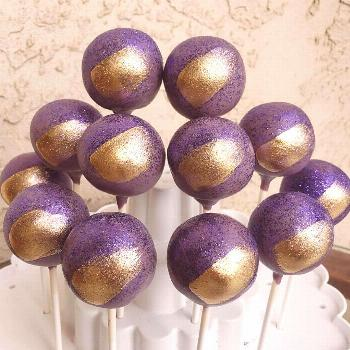Purple and Gold Birthday Cakepops . . . . . #madewelcakepops #cak