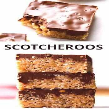 Scotcheroos Scotcheroos bars combine butterscotch morsels, peanut butter, rice krispies cereal, and