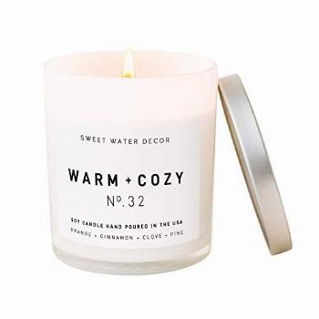 Sweet Water Decor Warm and Cozy Candle   Pine, Orange,