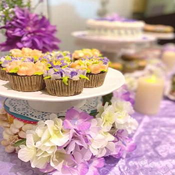 The sweets table with a purple touch ( Gerri's favorite color ) w
