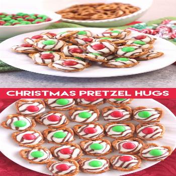 These festive Christmas Pretzel Hugs are melted just enough to press an M&M on the top. Let the cho