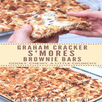 These Graham Crackers S'Mores Brownie Bars are gooey, chewy, a little crunchy, loaded with chocol