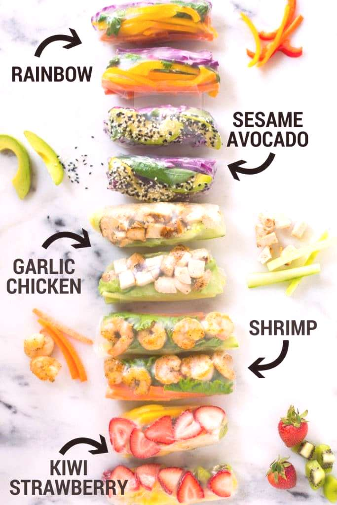 5 Healthy Spring Roll Recipes | Enjoy these 5 different Healthy Spring Roll Recipes from vegetarian