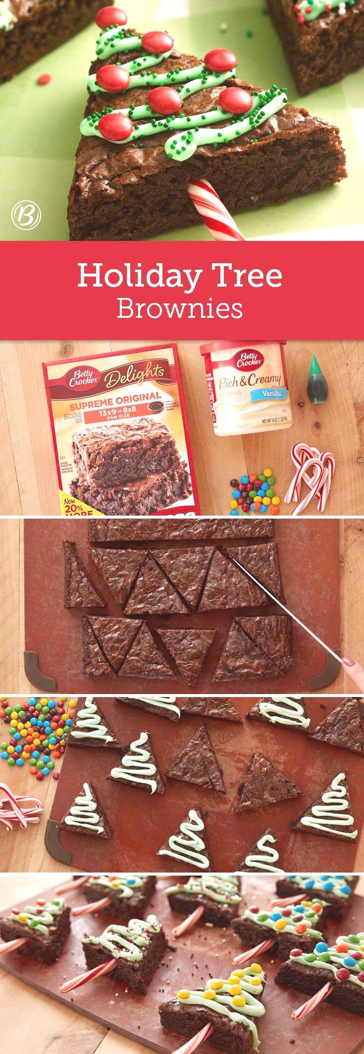 A pan of brownies gets extra holiday cheer when cut into triangles and decorated as Christmas trees