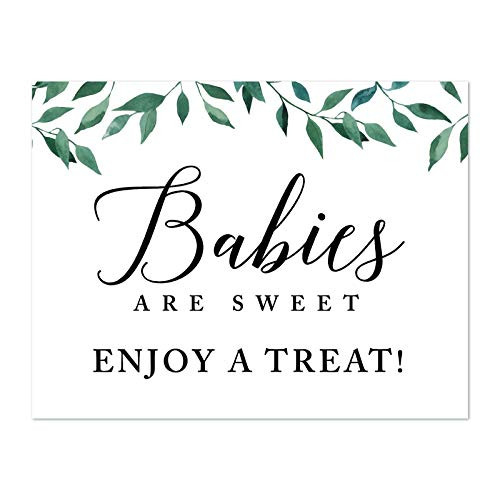 Andaz Press Baby Shower Party Signs, Natural Greenery Green