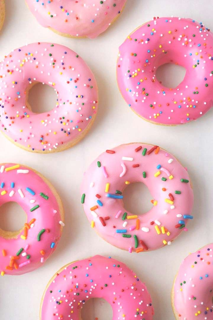 Baked Vanilla Donuts Recipe You can't go wrong with pink donuts on Valentine's morning, right? We'r