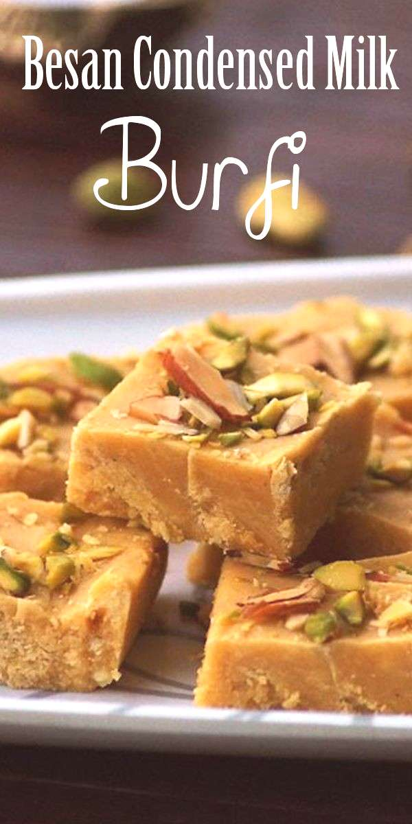 Besan Condensed Milk Burfi Recipe with Step by Step Photos. Indian fudge or dessert made with chick