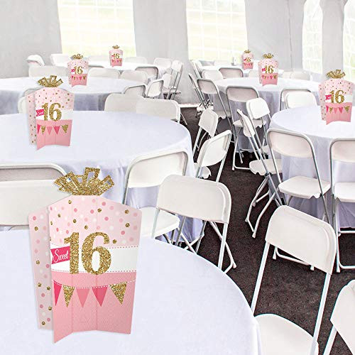 Big Dot of Happiness Sweet 16 - Table Decorations - 16th