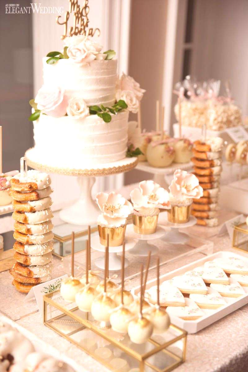 Blush and Gold Wedding Sweet Table, Gold Wedding Desserts, Wedding Sweet Table ideas | A Dreamy Win