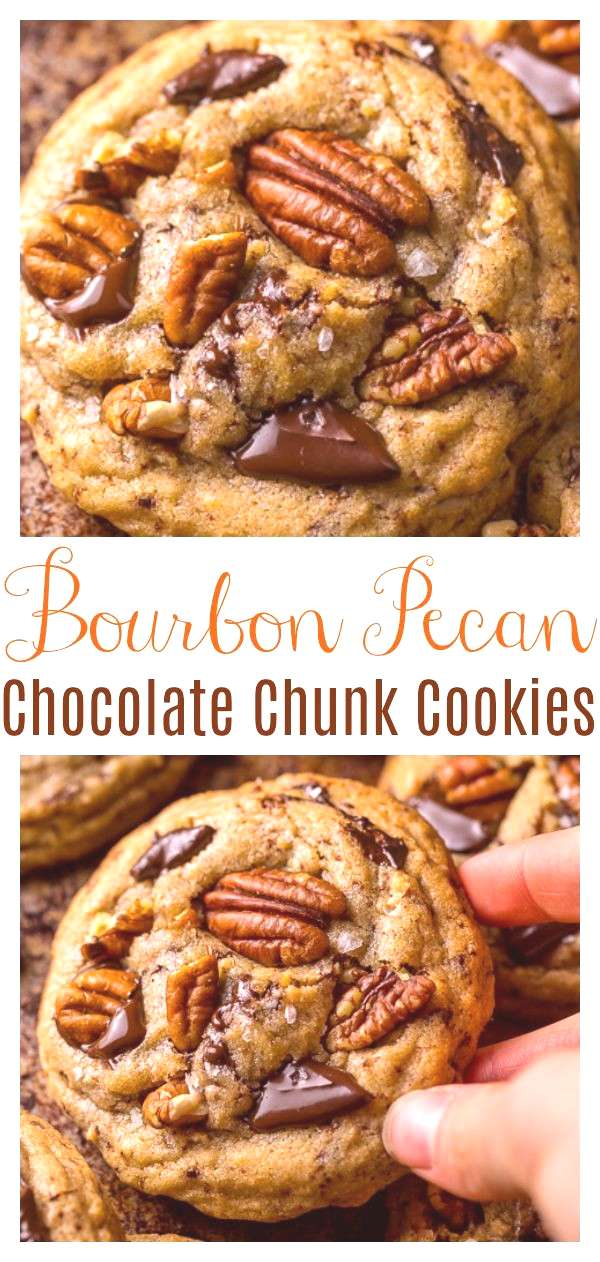 Brown Butter Bourbon Pecan Chocolate Chunk Cookies - Baker by Nature