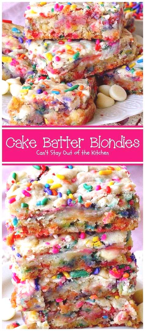 Cake Batter Blondies start with a boxed cake mix, sprinkles and either white chocolate or vanilla c
