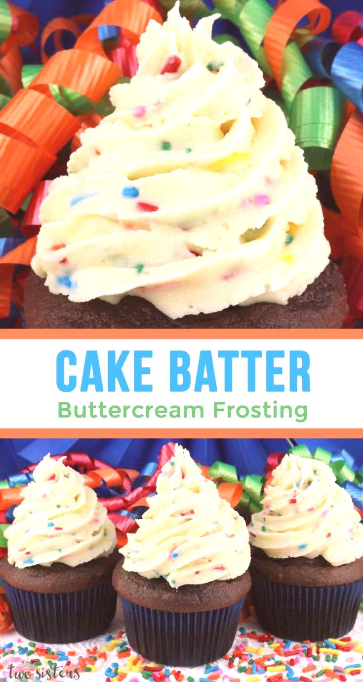 Cake Batter Buttercream Frosting - our delicious buttercream frosting flavored with cake mix and sp