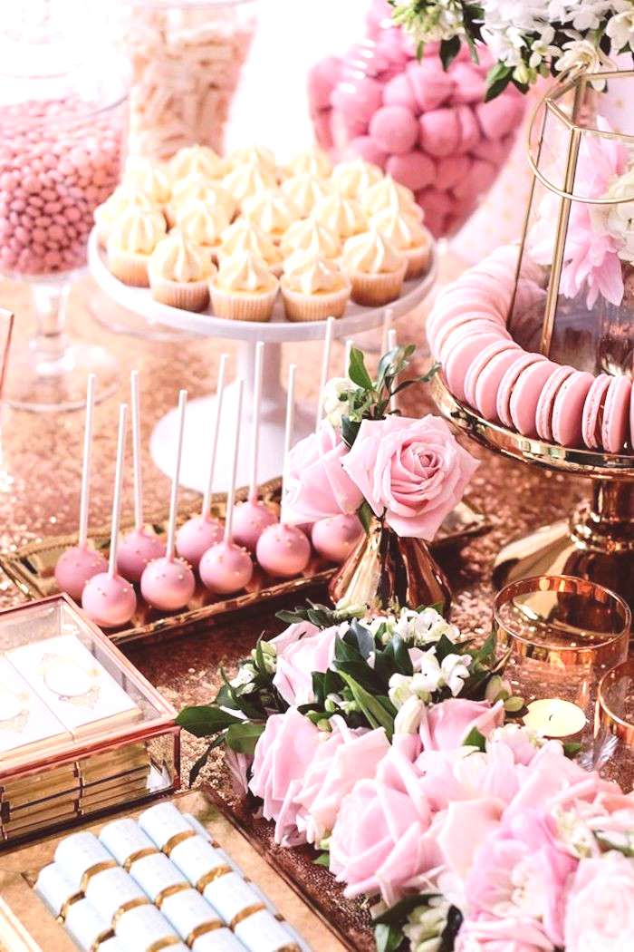 Candy + Decor of a copper, pink and golden princess party via Kara amp 39 s fee...#candy