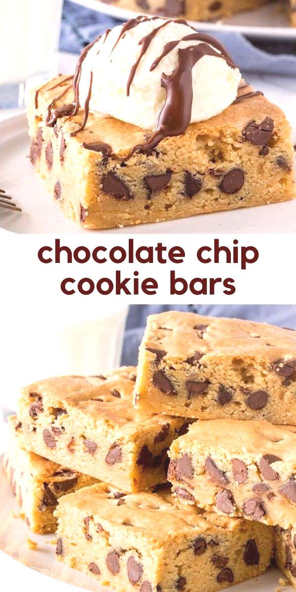 Chewy Chocolate Chip Cookie Bars Soft, chewy and packed with chocolate chips - these easy cookie ba