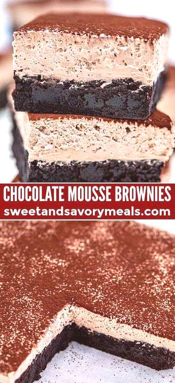 Chocolate Mousse Brownies are creamy, indulgent and loaded with chocolate, making them the perfect