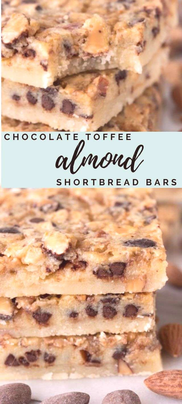 Chocolate Toffee Almond Shortbread Bars A thick shortbread bar covered in a gooey topping filled wi