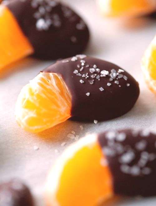 Chocolate-dipped, salted mandarins. Ready in seconds, and so, so good. I make these for every party