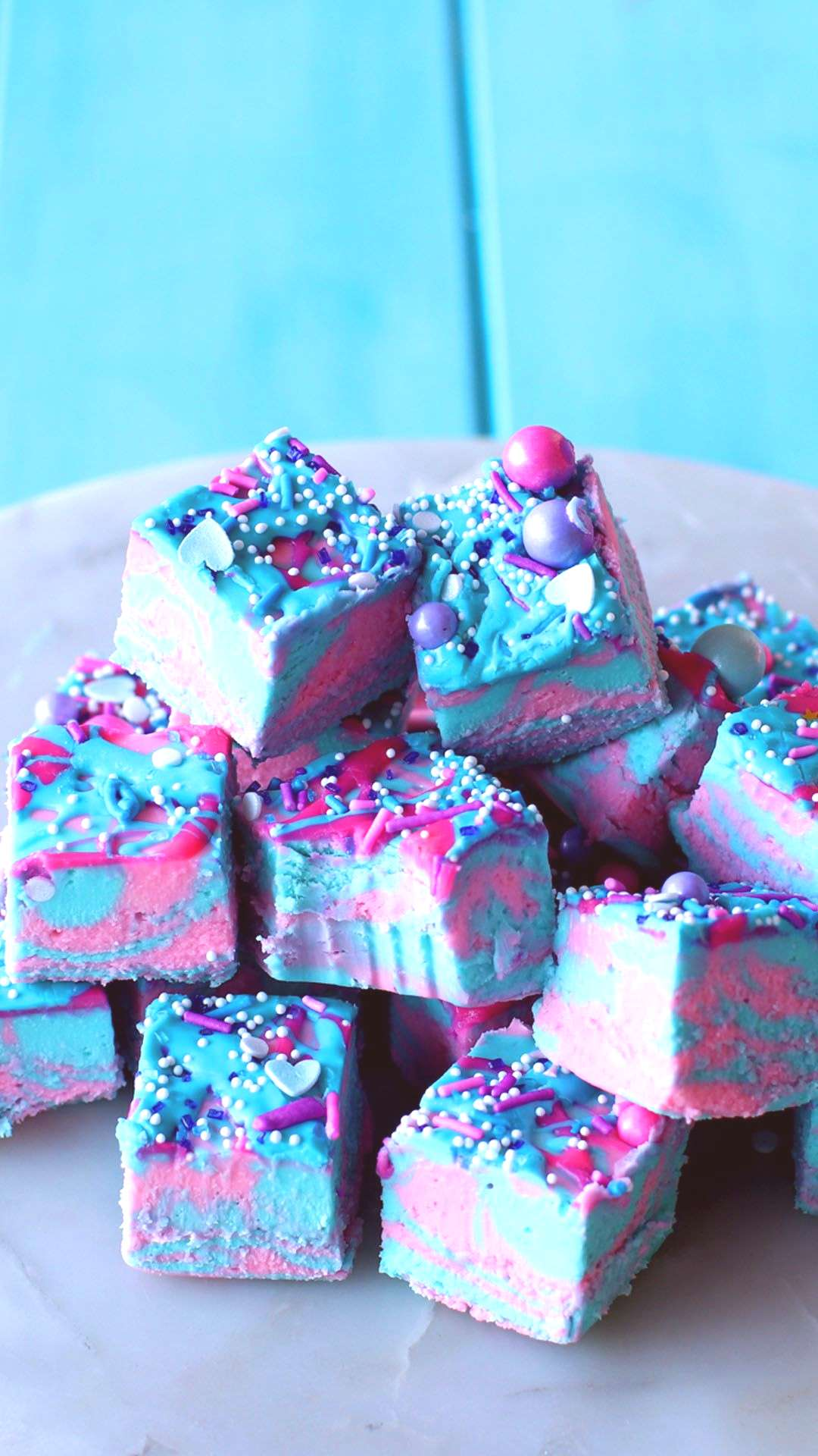 Cotton Candy Fudge This cosmically colorful cotton candy fudge will no doubt satisfy your sweet too