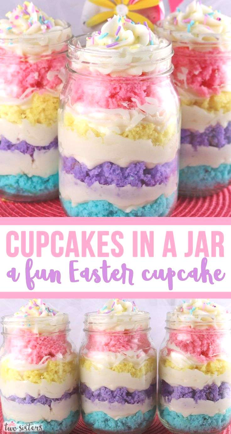 Cupcakes in a Jar Cupcakes in a Jar - a fun Easter Cupcake! Featuring colorful cake layers and deli