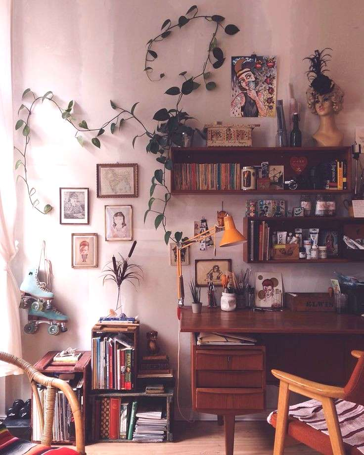 Home Office | interior design | House decoration | Bohemian decor | Houseplant ... Home Office | in