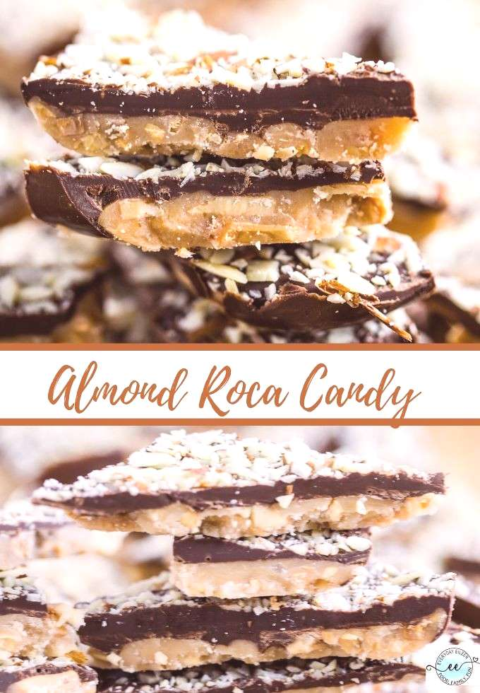 Homemade Almond Roca recipe, a delicious candy filled with chocolate, almonds, and sweet candy. Fab
