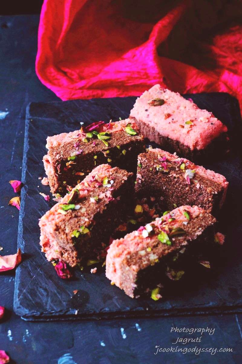 Jagruti's Cooking Odyssey: Chocolate and Rose Indian Milk Cake