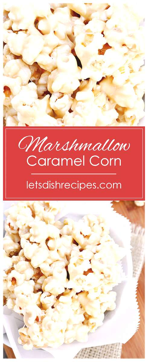Marshmallow Caramel Corn Recipe -- This marshmallow coated popcorn is the perfect sweet treat for m