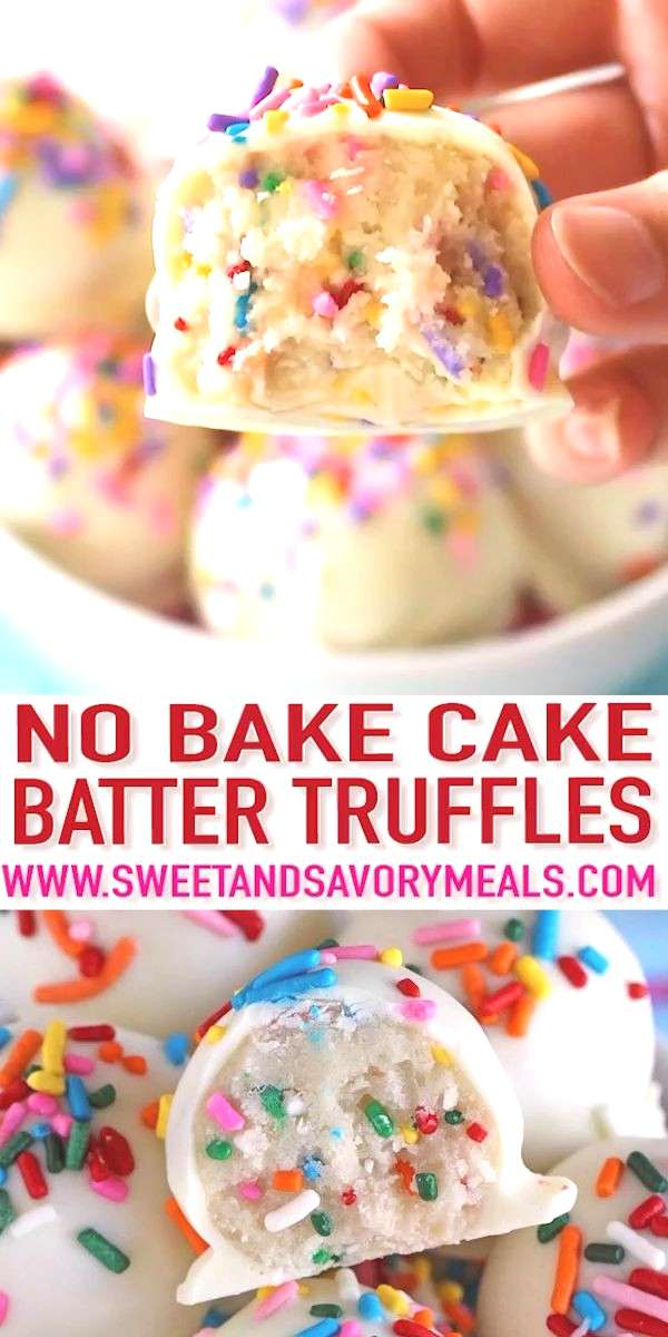 No Bake Cake Batter Truffles [Video] - Sweet and Savory Meals No Bake Cake Batter Truffles are very