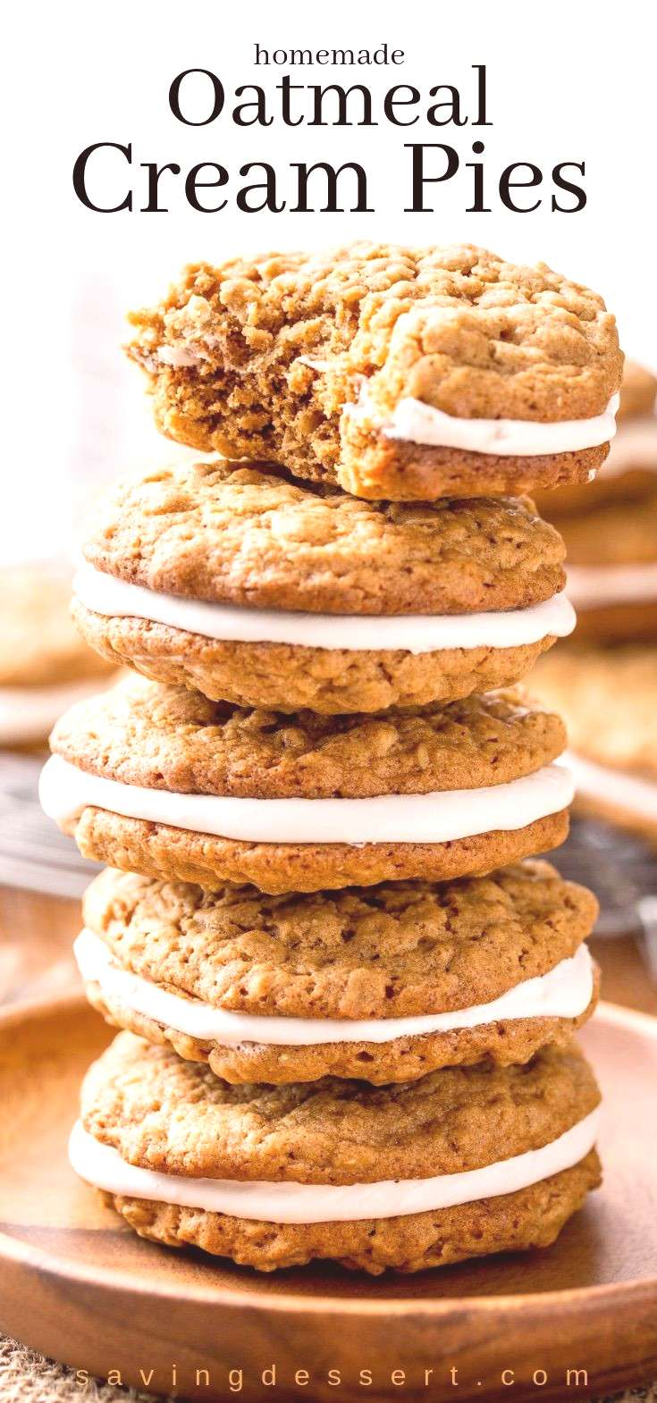 Oatmeal Cream Pies - soft, chewy oatmeal cookies with hints of cinnamon, molasses and coconut, with