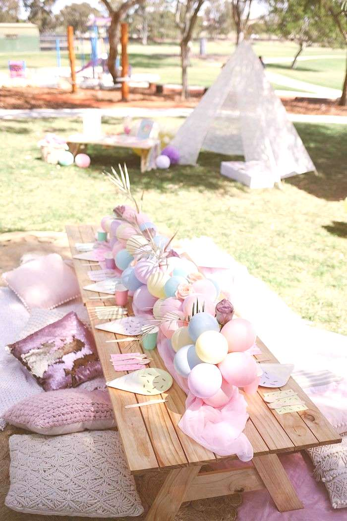 Pastel Picnic Party Table from a Pastel Sweet 2nd Birthday Party on Karas Party Ideas | (11)