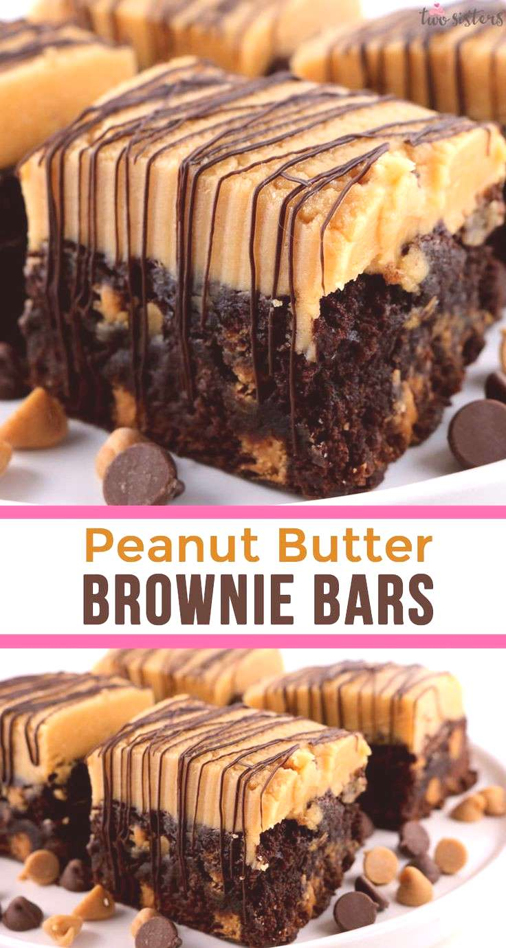Peanut Butter Brownie Bars - two classic dessert tastes that taste great together. These yummy brow