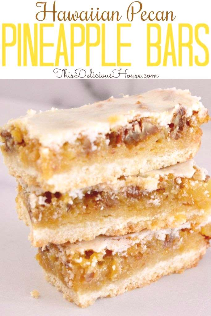 Pineapple Bars are the BEST recipe with a shortbread base, pineapple filling, and easy pineapple ic