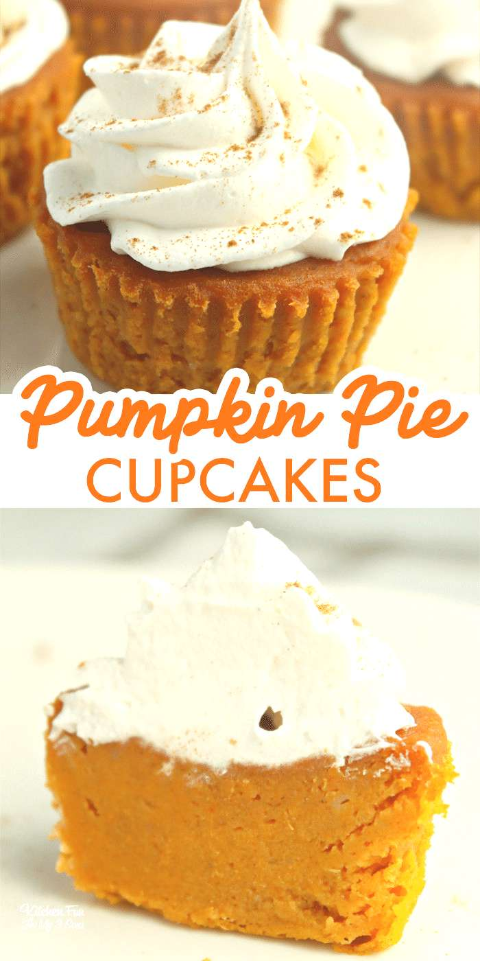 Pumpkin Pie Cupcakes are tiny pumpkin pies you can eat with your hands. So yummy for fall and Thank