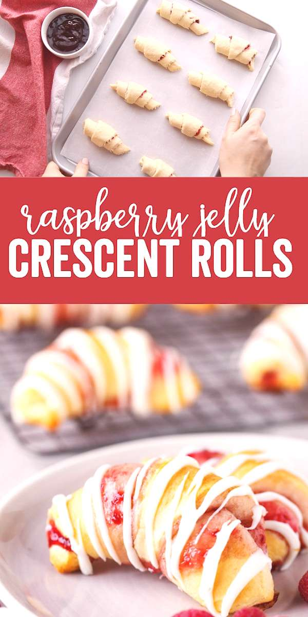 Raspberry Crescent Rolls a delicious sweet dessert that is quick to prepare and uses pre-made cres