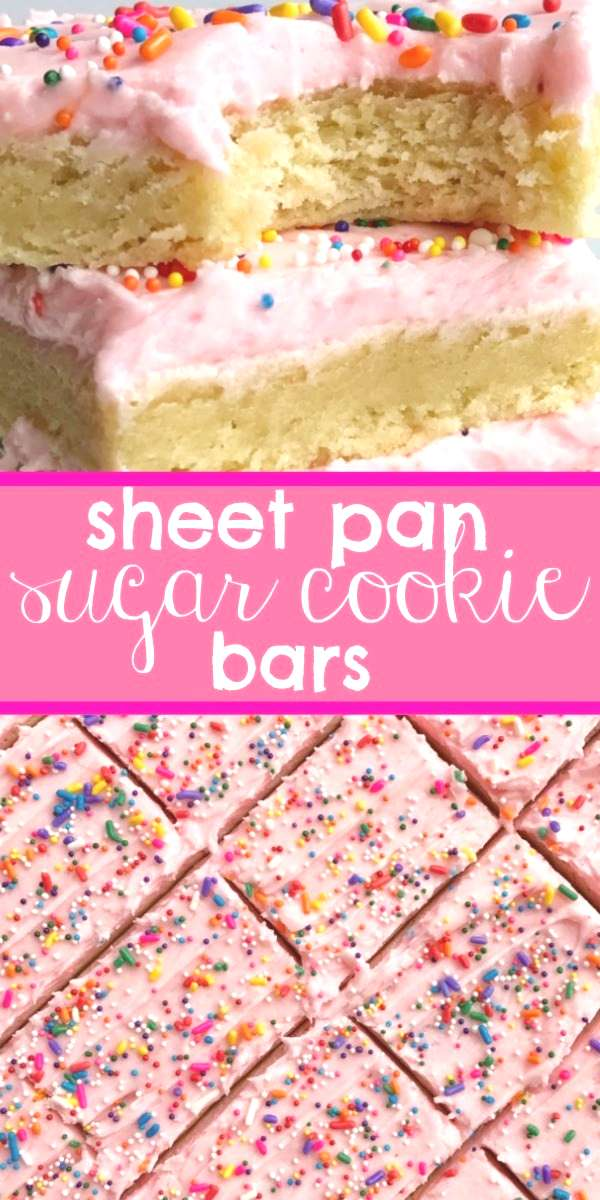 Soft, thick sugar cookie bars topped with a creamy and sweet frosting and baked in a sheet pan. Per