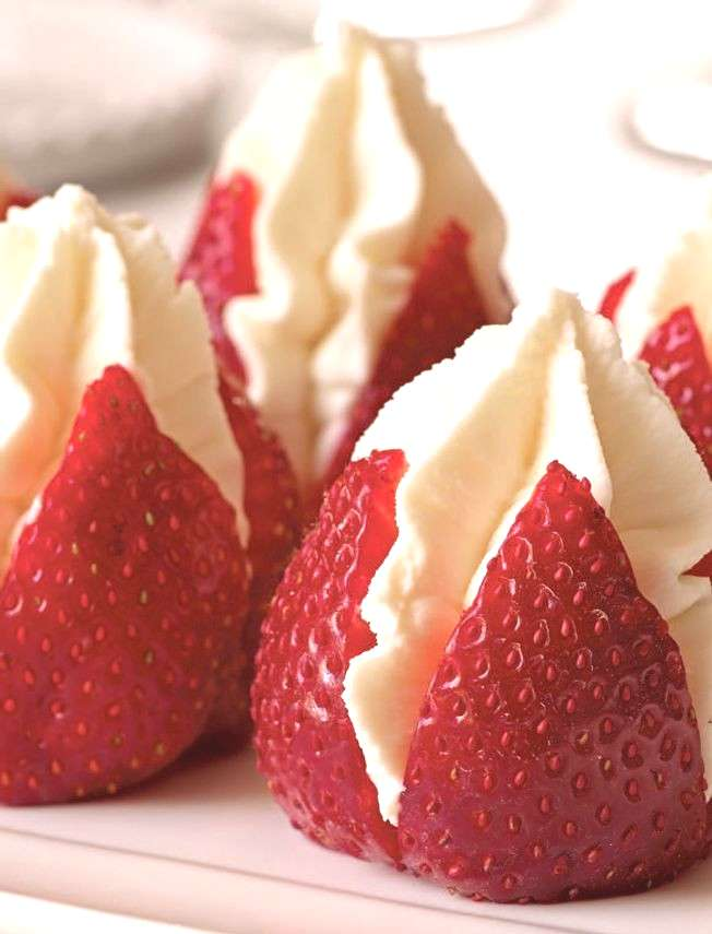 """Strawberries Filled with """"Clotted"""" Cream, a delicious cheat using whipped cream and silky masca"""