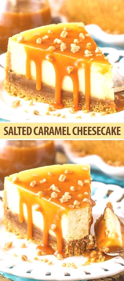 This Salted Caramel Cheesecake is the best youll ever have! The caramel sauce isnt simply drizzle