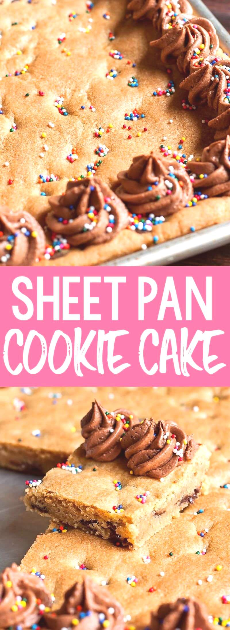 This Sheet Pan Cookie Cake Recipe is ready to party! A Classic chocolate chip cookie cake is a tota