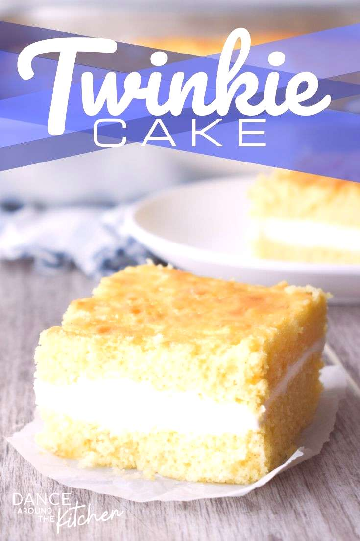 Twinkie Cake This layered Twinkie Cake starts with a yellow cake mix and is filled with a fluffy, c
